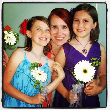 Me and my two lovely girls on the wedding day. <3